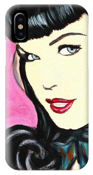 Bettie Page Pop Art Painting IPhone Case