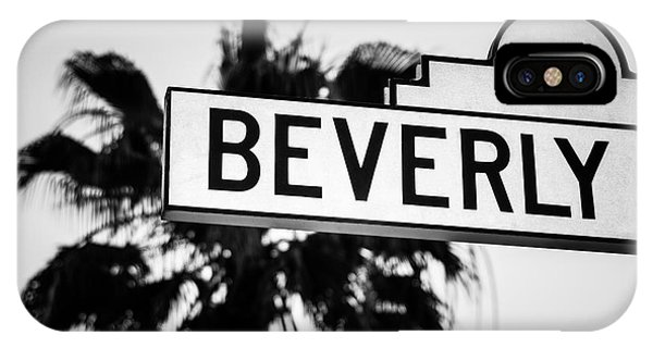 Beverly Hills iPhone Case - Beverly Boulevard Street Sign In Black An White by Paul Velgos