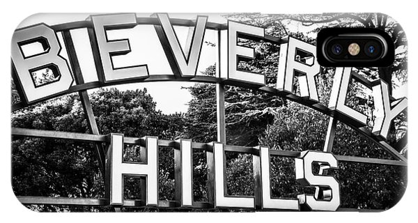 Beverly Hills iPhone Case - Beverly Hills Sign In Black And White by Paul Velgos