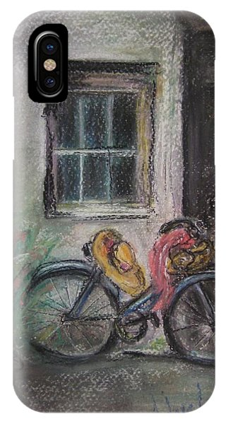 Bicycle By The Door Phone Case by Andrea Flint Lapins