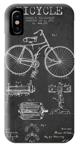 Bicycle iPhone X Case - Bicycle Patent Drawing From 1891 by Aged Pixel