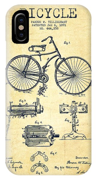 Transportation iPhone Case - Bicycle Patent Drawing From 1891 - Vintage by Aged Pixel