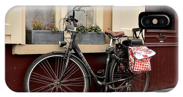 Bicycle With Baby Seat At Doorway Bruges Belgium IPhone Case