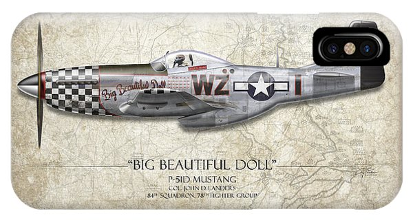 Craig iPhone Case - Big Beautiful Doll P-51d Mustang - Map Background by Craig Tinder
