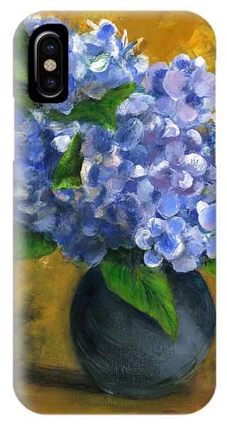 Big Hydrangeas In Little Black Vase IPhone Case