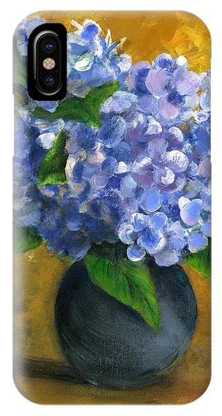 Big Hydrangeas In Little Black Vase IPhone Case