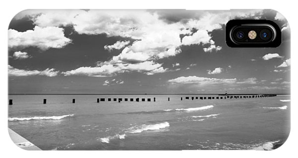 Big Lake Clouds Black White IPhone Case