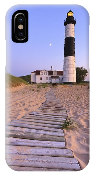Full Moon iPhone Case - Big Sable Point Lighthouse by Adam Romanowicz