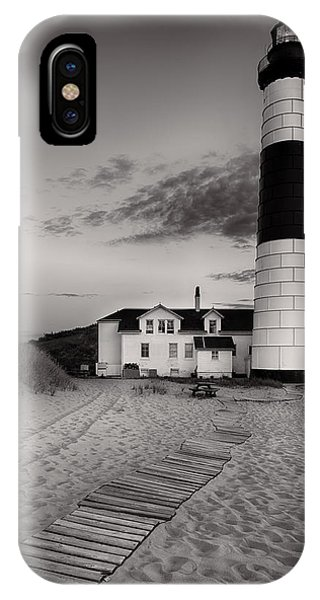 Big Sable Point Lighthouse In Black And White IPhone Case