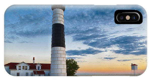 IPhone Case featuring the photograph Big Sable Point Lighthouse Sunset by Sebastian Musial
