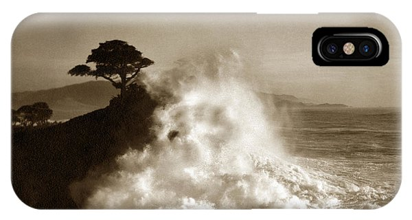 Big Wave Hitting The Lone Cypress Tree Pebble Beach California 1916 IPhone Case