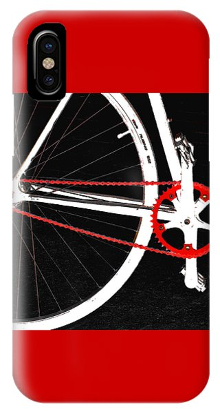 Bicycle iPhone X Case - Bike In Black White And Red No 2 by Ben and Raisa Gertsberg