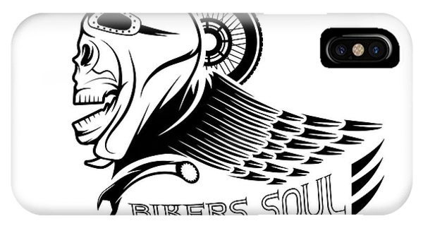 Coat iPhone Case - Bikers Theme Label With Skull,wheel And by Uvaconcept