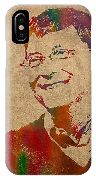 Office iPhone Case - Bill Gates Microsoft Ceo Watercolor Portrait On Worn Distressed Canvas by Design Turnpike