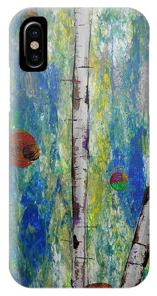 IPhone Case featuring the painting Birch - Lt. Green 4 by Jacqueline Athmann
