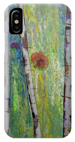 IPhone Case featuring the painting Birch - Lt. Green 5 by Jacqueline Athmann