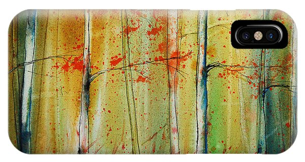 IPhone Case featuring the painting Birch Tree Forest I by Jani Freimann