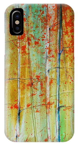 IPhone Case featuring the painting Birch Tree Forest by Jani Freimann