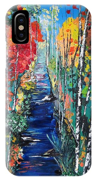 Birch Trees Along River Bank IPhone Case