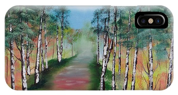 Birch Trees Along Winding Path IPhone Case
