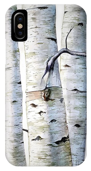 Birch Trees In Watercolor IPhone Case