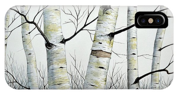 Birch Trees In The Forest In Watercolor IPhone Case