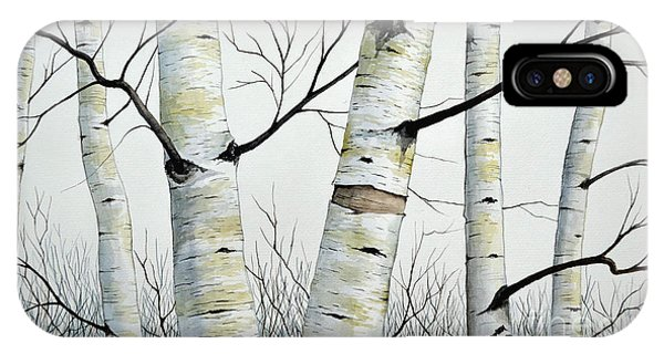 Birch Trees In The Forest By Christopher Shellhammer IPhone Case