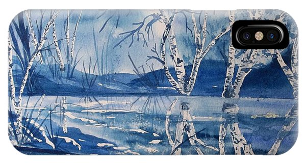 Birches In Blue IPhone Case