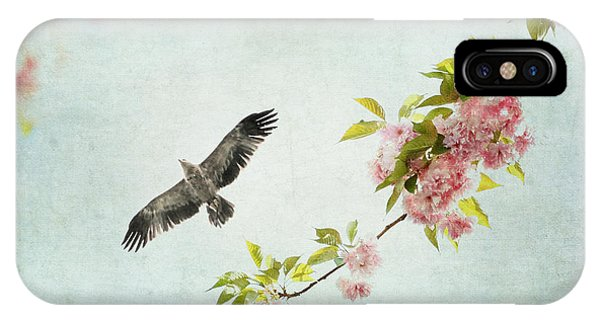 Bird And Pink And Green Flowering Branch On Blue IPhone Case