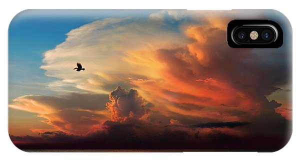 Sonne iPhone Case - Bird Flying Against Sky At Sunset by Per-Andre Hoffmann