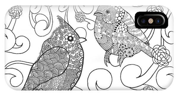 White Background iPhone Case - Birds Coloring Page. Animals. Hand by Palomita