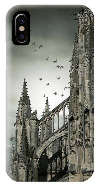Birds Flying Around Old Cathedral  IPhone Case