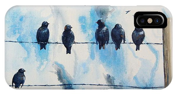 Birds On Barbed Wire IPhone Case