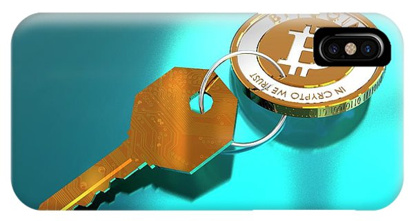 Bitcoin And Key Phone Case by Victor Habbick Visions/science Photo Library