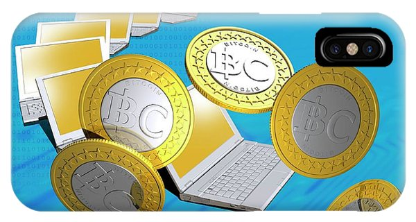 Bitcoins And Laptops IPhone Case