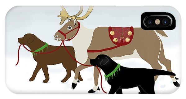 Black And Chocolate Labs Lead Reindeer IPhone Case