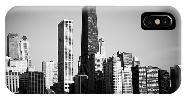 Skyline iPhone Case - Black And White Chicago Skyline With Hancock Building by Paul Velgos