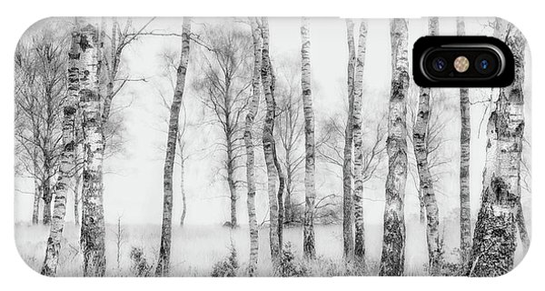 Birch Tree iPhone Case - Black And White by Nel Talen
