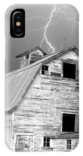 Black And White Old Barn Lightning Strikes IPhone Case