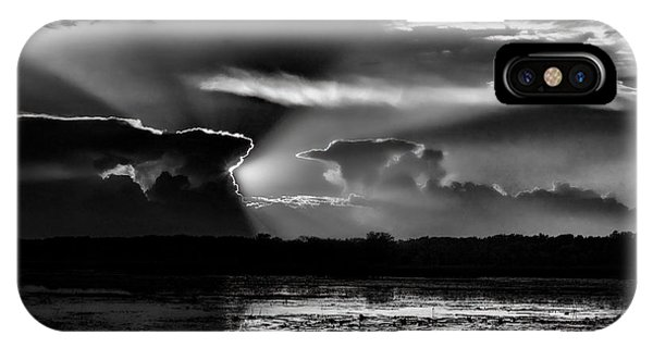 Black And White Sunset Over The Mead Wildlife Area IPhone Case