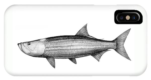 IPhone Case featuring the drawing Black And White Tarpon by Steve Ozment