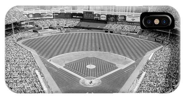 Yankee Stadium iPhone Case - Black And White Yankee Stadium by Horsch Gallery