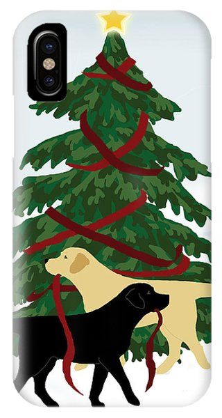Black And Yellow Labs Trim Christmas Tree IPhone Case