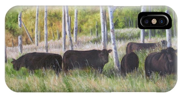 IPhone Case featuring the painting Black Angus Grazing by Tammy Taylor