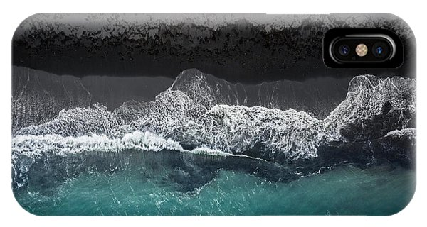 Aerial iPhone Case - Black Beach by Marcus Hennen