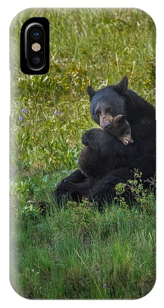 Black Bear Sow Hugging Cub IPhone Case