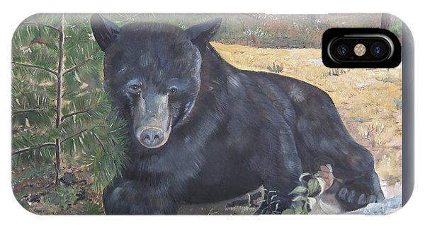 Black Bear - Wildlife Art -scruffy IPhone Case