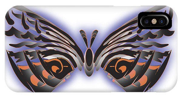 Black Blue Orange Butterfly IPhone Case