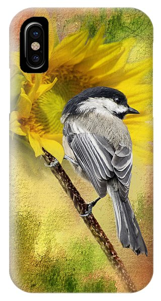 Black Capped Chickadee Checking Out The Sunflowers IPhone Case