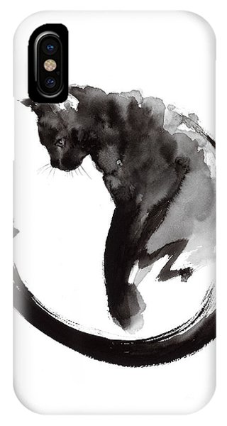 Black And White iPhone X Case - Black Cat by Mariusz Szmerdt